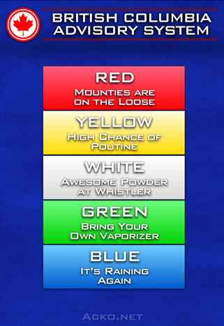 British Columbia Advisory System. White - Awesome Powder at Whistler. Red - Mounties are on the Loose. Yellow - High Chance of Poutine. Green - Bring Your Own Vaporizer. Blue - It's Raining Again.