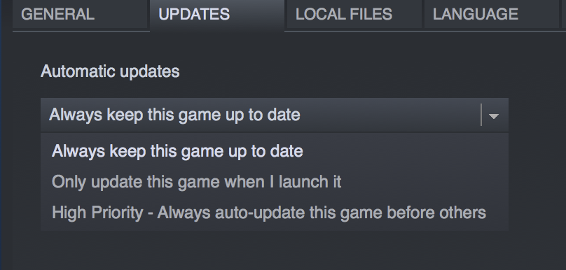 Steam auto-update options: 1) keep this game up to date, 2) keep this game up to date when I start it, 3) keep this game up to date with high priority