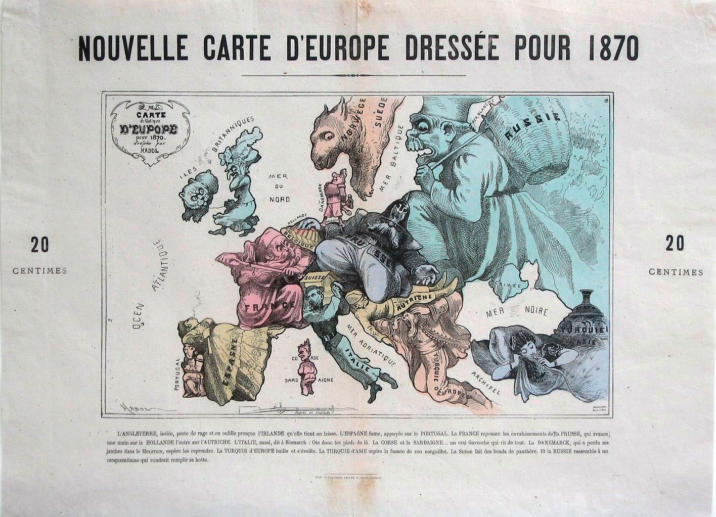 Paul Hadol, Nouvelle Carte d'Europe dressée pour 1870, Paris, France, 1870.