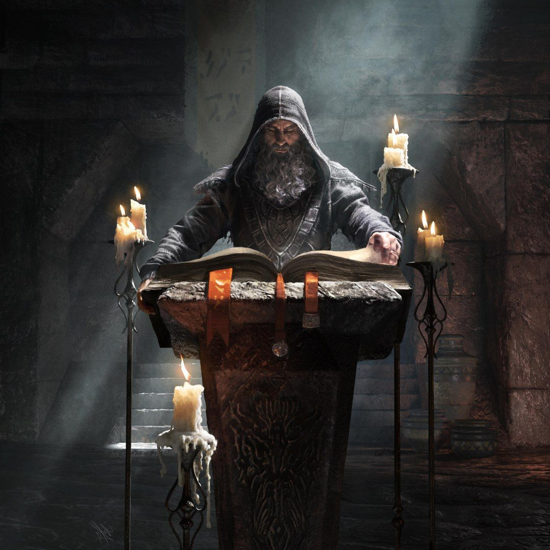 A gray beard monk reading from a tome